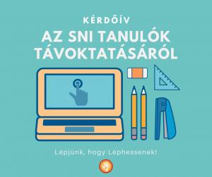 Kérdőív az SNI tanulók távoktatásáról. Illusztráció: laptop, mellette iskolaszerek.